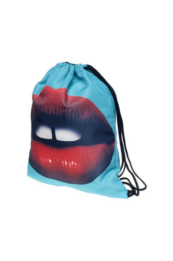 RED LIP Drawstring Shoulder Bag