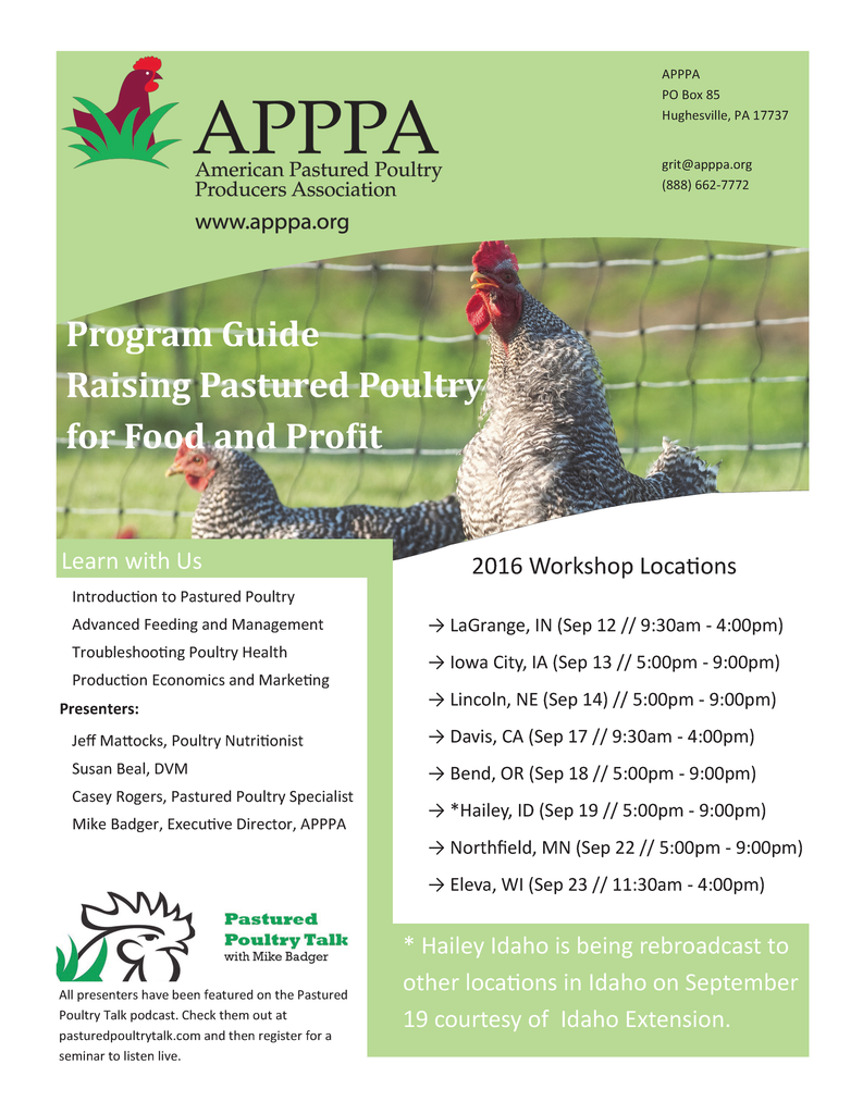Raising Poultry for Food and Profit Workshop Audio Recordings
