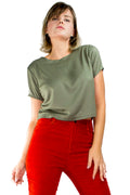Blusa Decote Costa Viscose Militar - Modisch