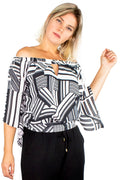 Blusa Off Shoulder Geométrico P&B - Modisch