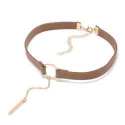 Leather Choker - Gold Plated