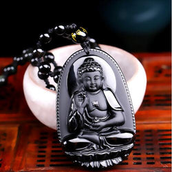 High Quality Black Buddha Obsidian, Necklace, Brisk Buddha Inc., PetFut