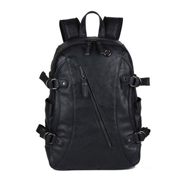Oil Wax Leather Backpack  College Style