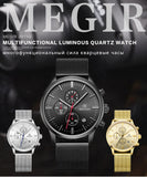 Megir Mens  Stainless Steel Mesh Band Waterproof  Dress Watch