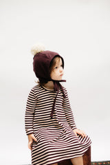 Mulberry Herringbone Winter Bonnet