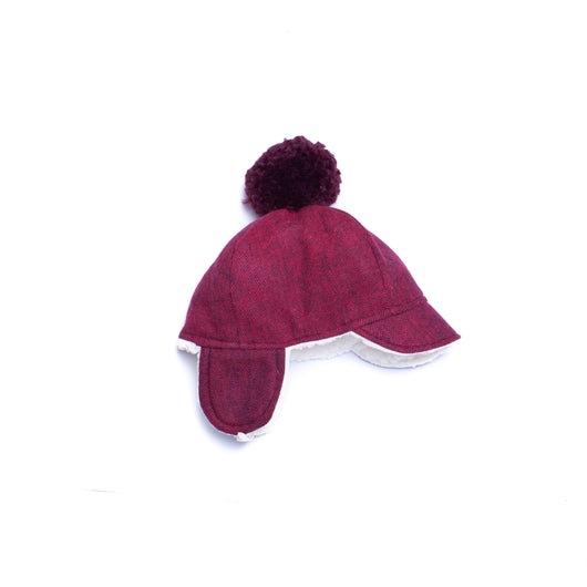 Cranberry Herringbone Winter Cap