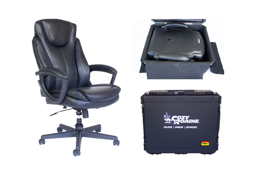 Cozy Roadie Bundle, full sized, transportable executive office chair-in-a-box