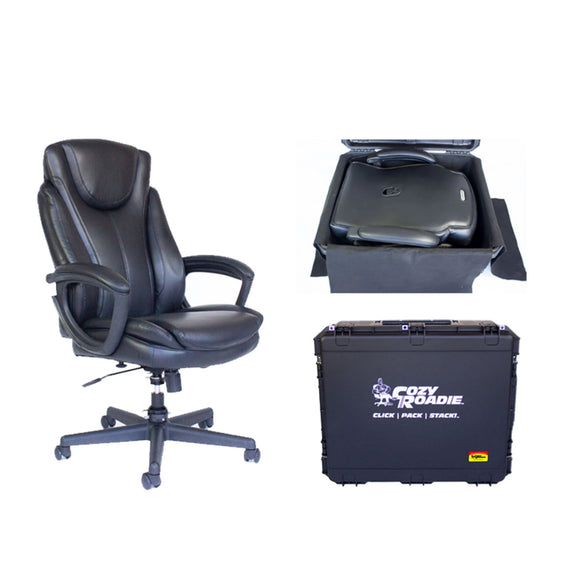 Cozy Roadie - Fully Portable Crew Chair bundle. shown with folded chair in case