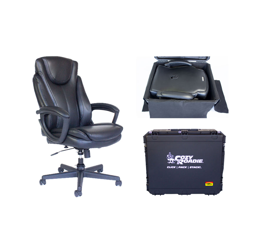 "Cozy Roadie - Foldable Office Crew Chair bundle. Shown with folded chair in case and extended 15"" Cylinder"