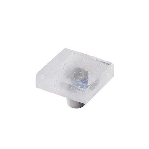 "Glassia, Wispy White, 1.5"" Square Knob"