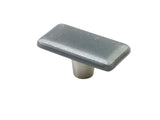 Iridescent Gray Silver Rectangle Knob