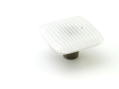 Stripe Cottage White Square Knob