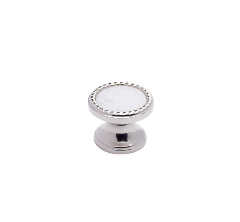 Classico Polished Nickel Classic White Round Knob