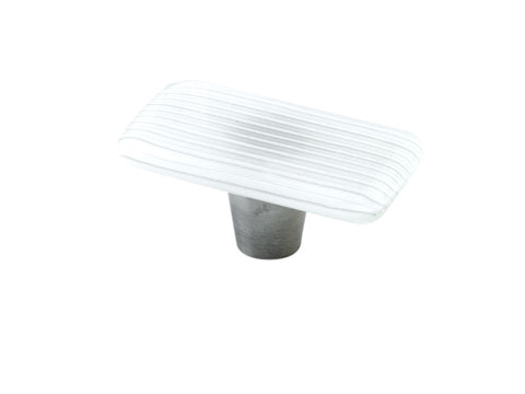 Stripe Cottage White Rectangle Knob