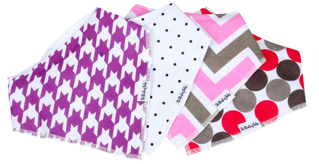 Bandana Bib Set Pink & Grey