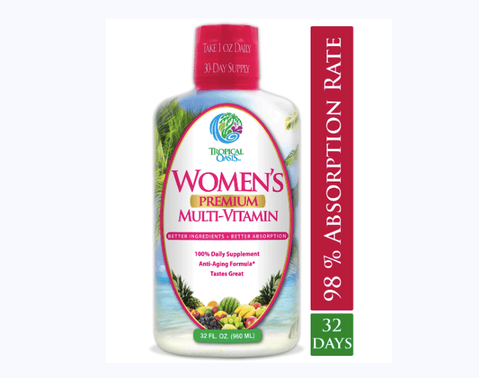 Tropical Oasis' Women's Premium Liquid Multivitamin Helps Women Live Healthier Lives