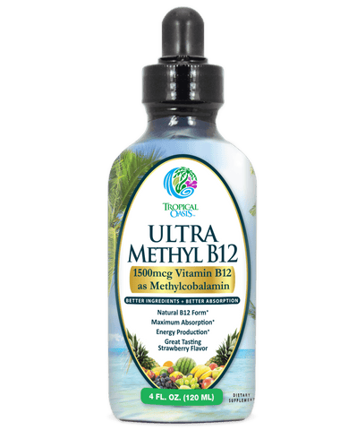 Ultra Methyl B12 - Liquid Vitamin B12 Drops (1500mcg as Methylcobalamin) - Strawberry flavor - 4 oz, 24 serv