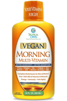 Vegan Morning Liquid Multivitamin 120+ Nutrients, 74 Trace Minerals, 18 Amino Acids, & 10 Herbs