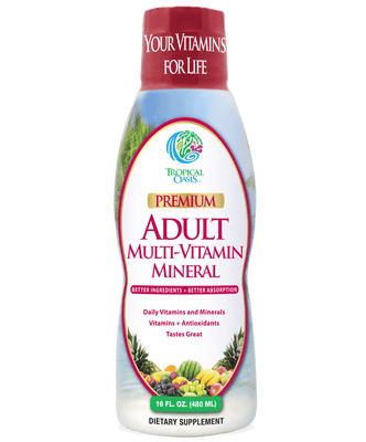Tropical Oasis Adult Multi Vitamin and Mineral Liquid Supplement ,16 fl oz, 32 servings