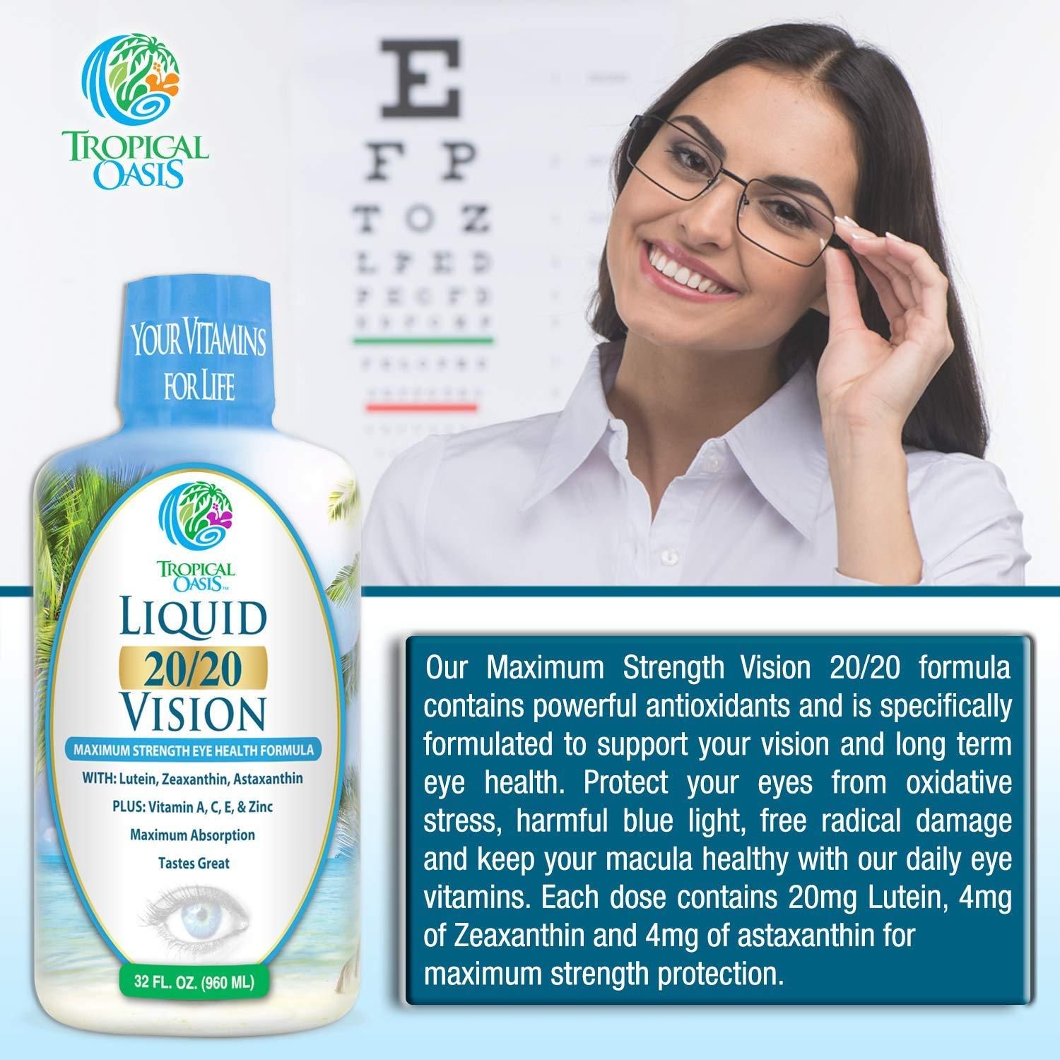 Liquid 20/20 Vision Eye Vitamin w/ 20mg Lutein - 32oz, 32 Serv. - tropical-oasis-store
