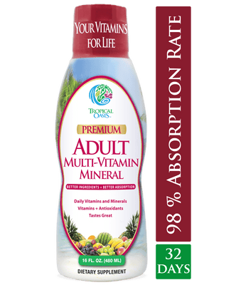 Tropical Oasis Adult Multi Vitamin and Mineral Liquid Supplement ,16 fl oz, 32 servings - tropical-oasis-store