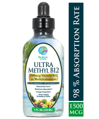 Ultra Methyl B12 - Liquid Vitamin B12 Drops (1500mcg as Methylcobalamin) - Strawberry flavor - 4 oz, 24 serv - tropical-oasis-store