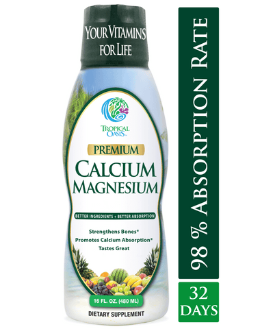 Premium Liquid Calcium Magnesium Citrate - Natural formula with Support for Strong Bones - tropical-oasis-store
