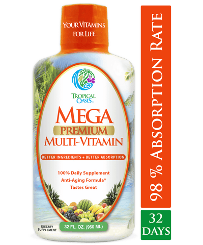 Mega Premium Liquid Multivitamin and Mineral Supplement - 32oz, 32serv - tropical-oasis-store