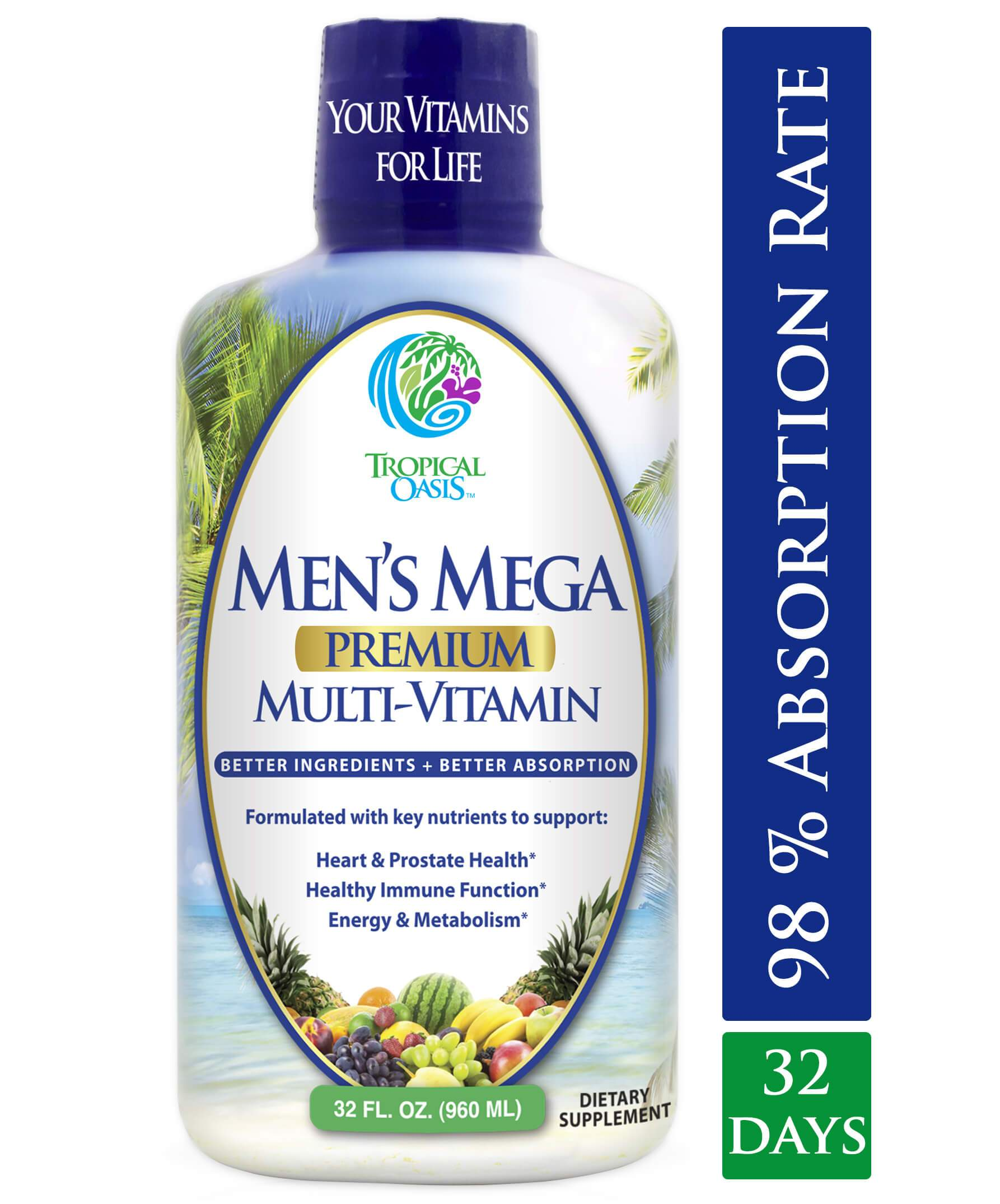 Men's Mega Liquid Multivitamin - 32 serv - tropical-oasis-store