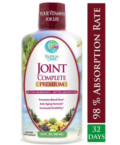 Joint Complete Premium - Liquid Joint Supplement for Bone & Joint Health with Liquid Glucosamine Sulfate, Chondroitin, MSM & Hyaluronic Acid - 96% Max Absorption– 32oz, 32 serv - tropical-oasis-store