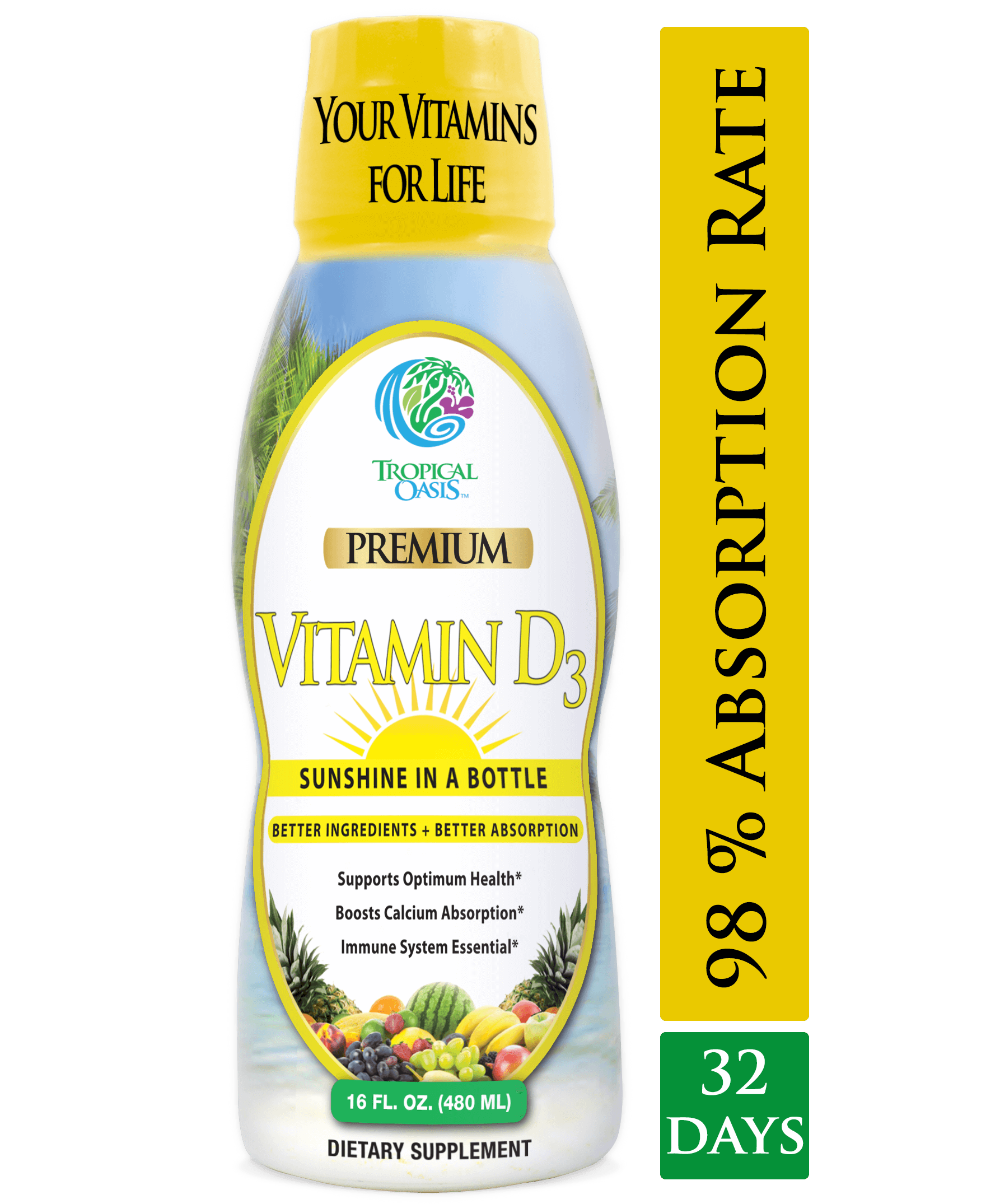 Tropical Oasis Liquid Vitamin D3 - 5000 IU per serv – Promotes strong bones & healthy muscle function. PLUS natural mood booster– Liquid D3 supplement for Maximum 96% Absorption Rate- 16 oz - 32 Serv - tropical-oasis-store