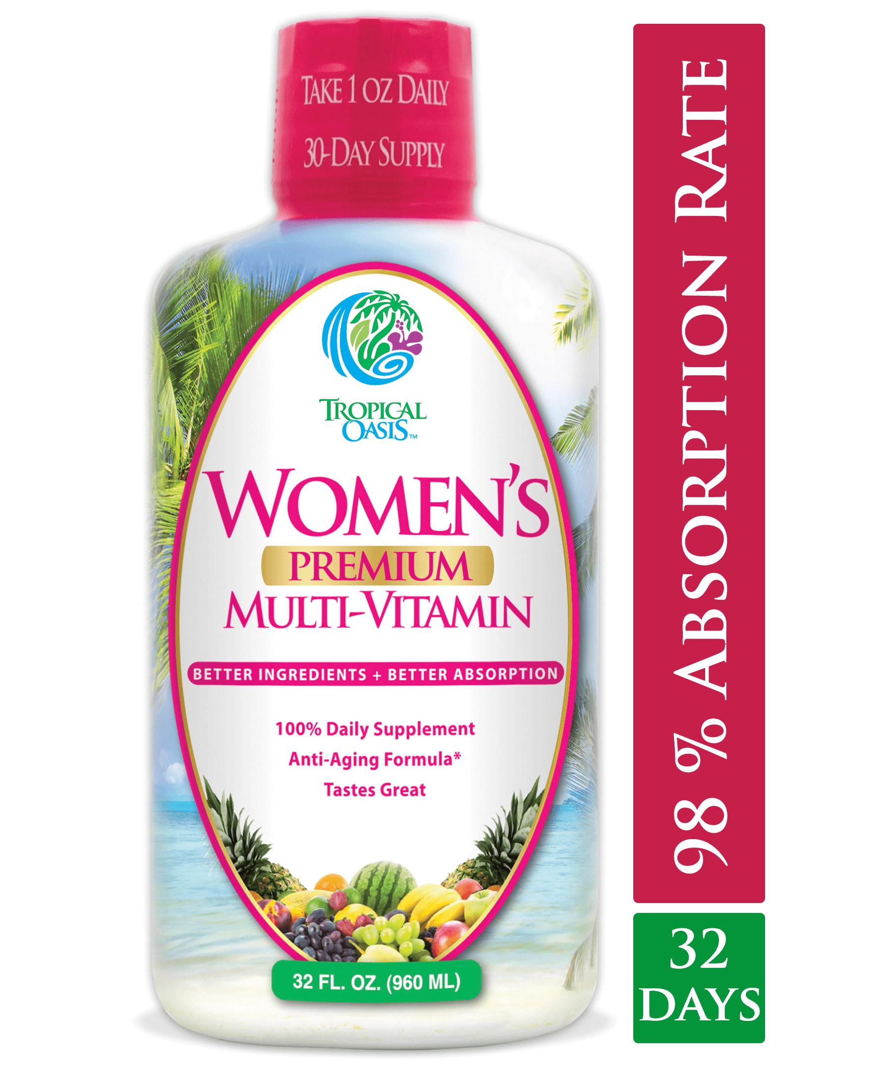 Women's Premium Liquid Multivitamin, Superfood, & Herbal Blend -- 32 fl oz, 32 serv. - tropical-oasis-store