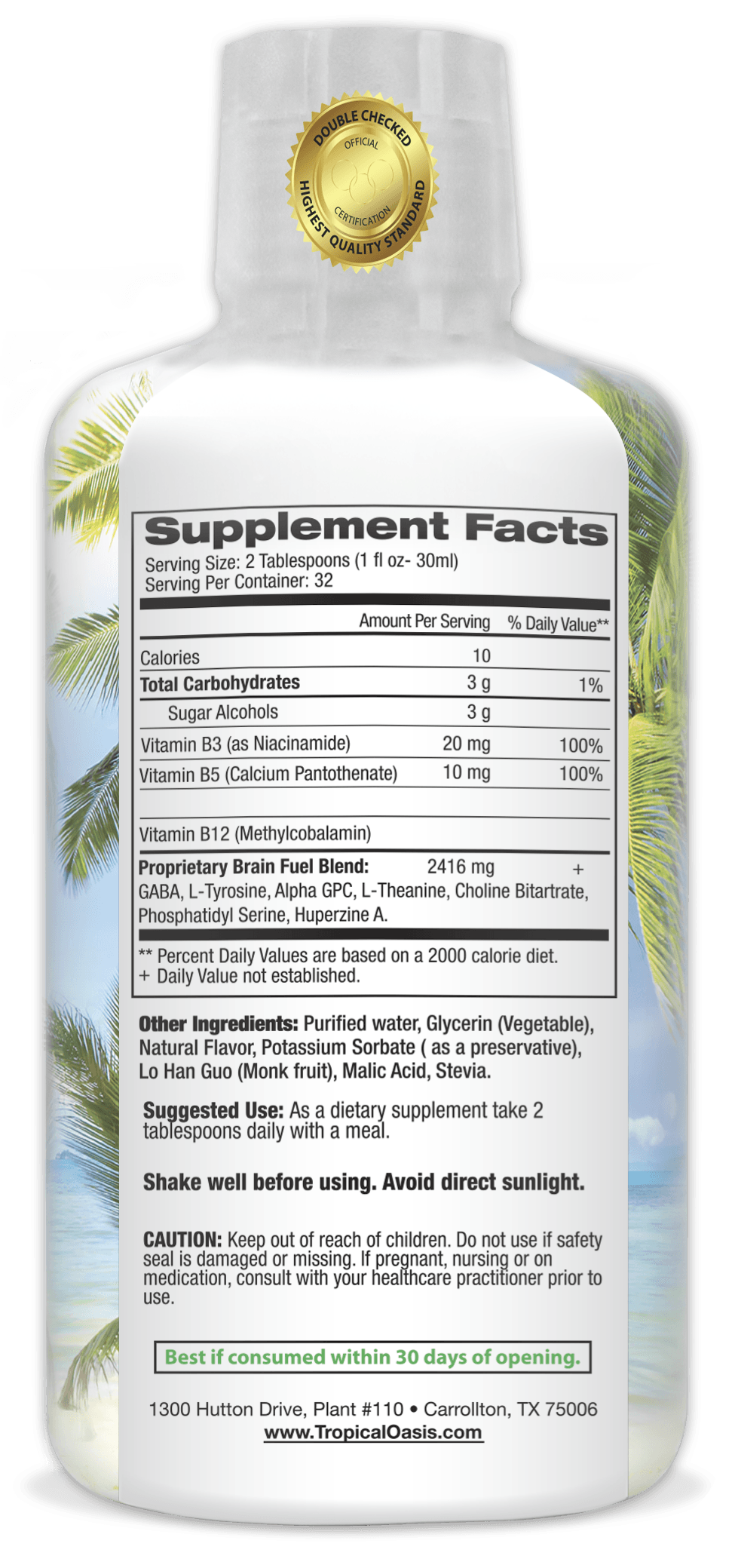 Tropical Oasis Brain Fuel - Liquid Supplement that Promotes Mental Clarity & Increased Focus - tropical-oasis-store