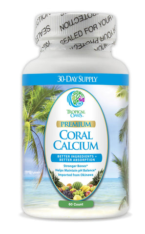 Tropical Oasis Premium Coral Calcium - 1270mg Natural Coral Calcium w/Magnesium and Vitamin D - Proprietary blend for max absorption. Helps keep bones healthy & pH levels balanced naturally* - 60ct