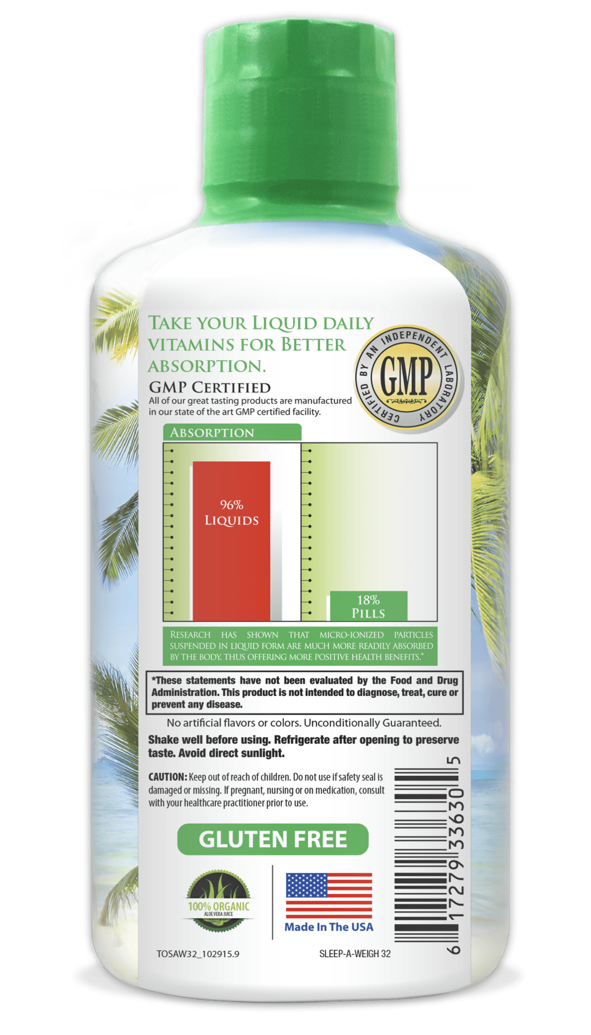 Tropical Oasis Sleep-A-Weigh Plus Liquid - Naturally Promotes Restfulness, Appetite Suppression & Fat Burning -32oz, 32serv - tropical-oasis-store