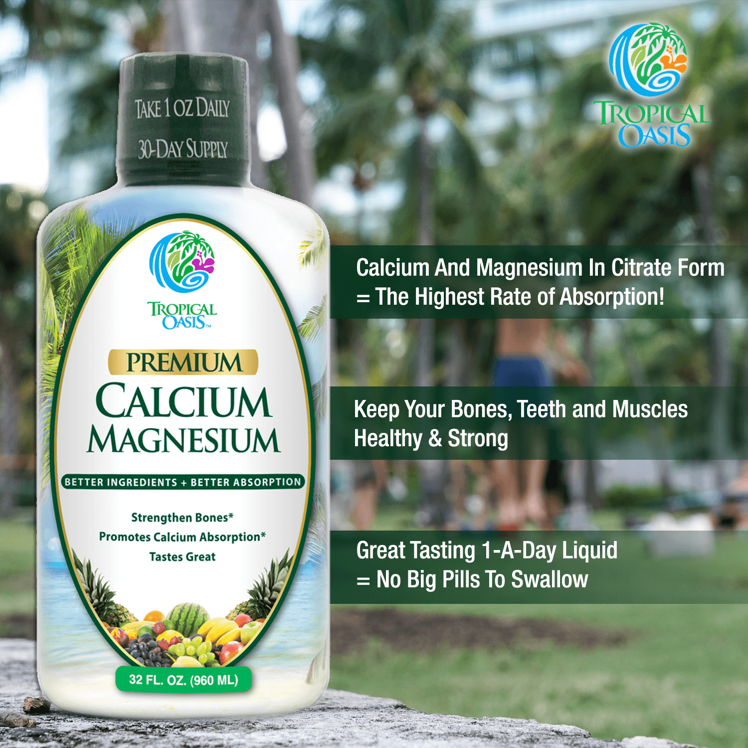 Calcium Magnesium Liquid Supplement - 32 Oz - tropical-oasis-store