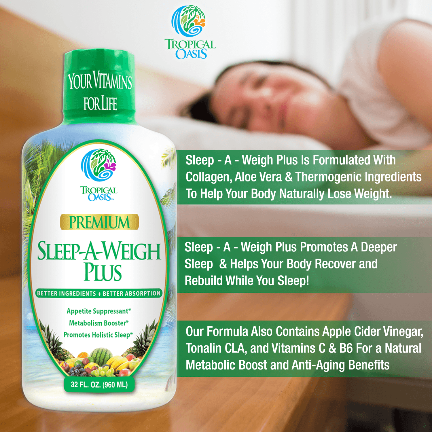 Tropical Oasis Sleep-A-Weigh Plus Liquid - Naturally Promotes Restfulness, Appetite Suppression & Fat Burning -32oz, 32serv