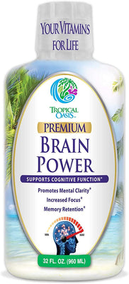 Tropical Oasis Brain Power - Liquid Supplement that Promotes Mental Clarity & Increased Focus