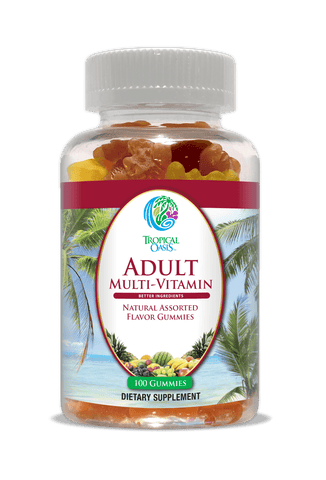 Tropical Oasis Adult Gummy Multivitamins for Men & Women | Daily Multi-Vitamin w/Full Vitamin B-Complex | Gluten Free, Gelatin Free, Made with Pectin | Great Tasting Naturally Flavored Gummies - 100ct - tropical-oasis-store