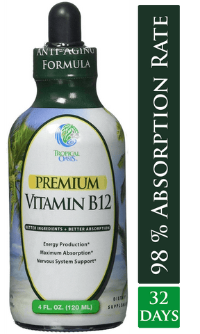 Tropical Oasis Sublingual Vitamin B12 Liquid Drops - Strawberry Flavor - 4 oz