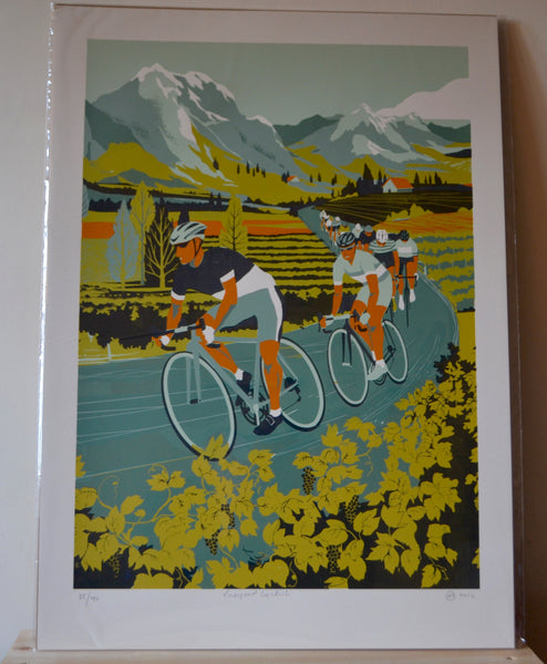 Print - Vineyard Cyclists (50x70cm)