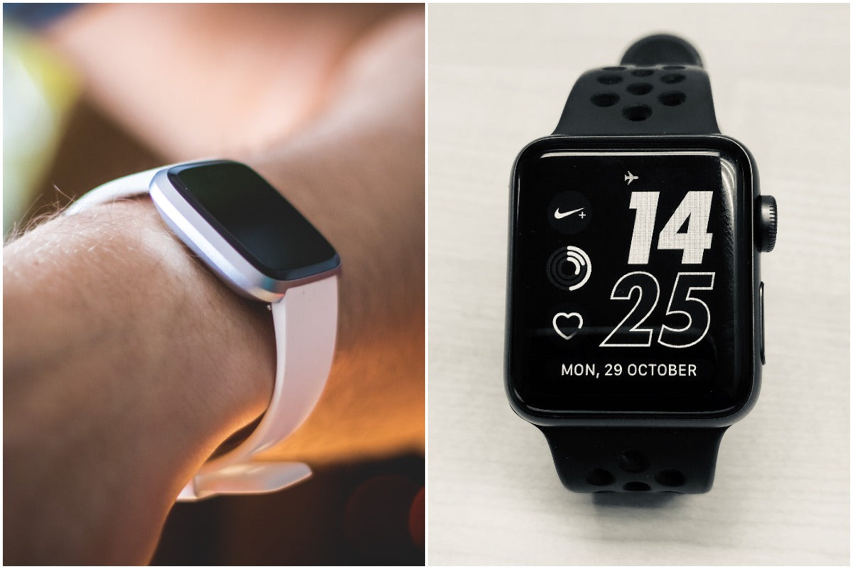 Two images side by side of a person wearing a pink Apple watch and another of a black Fitbit Versa 2.