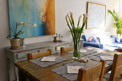 Dining room with lilies