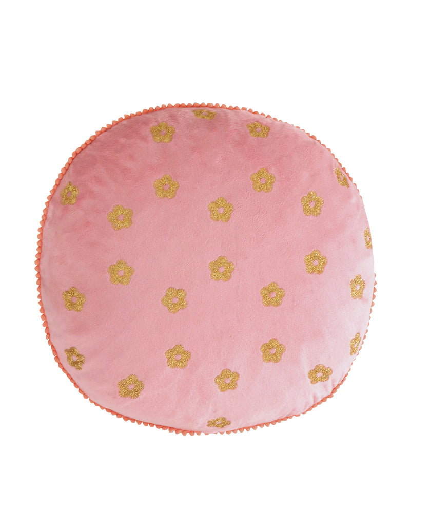 Napali Velvet Embroidered Round Pillow