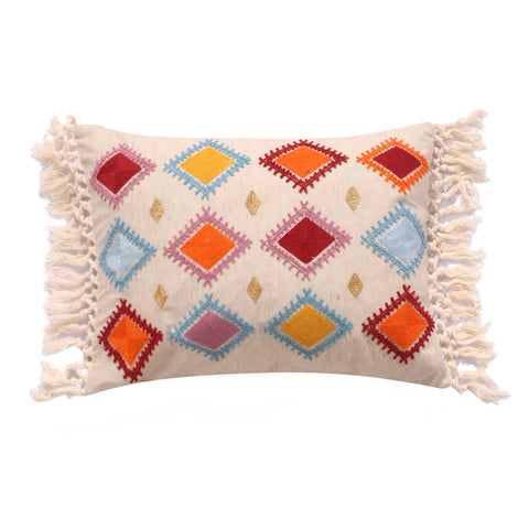 Aitana Fringed Crewel Diamond Pillow