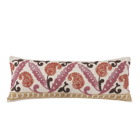 Amata Crewel Stitched Paisley Pillow