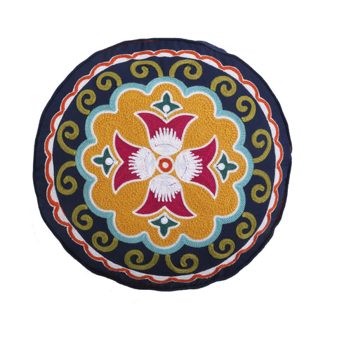 Amelie Round Embroidered Pillow
