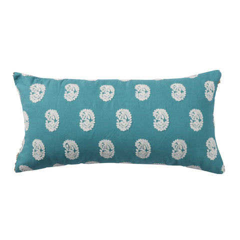 Analise Teal Block Paisley Pillow