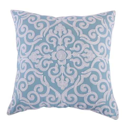 Architectural Crewel Teal Pillow