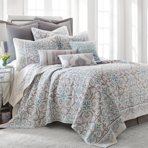 Architectural Tile Grey Quilt Set